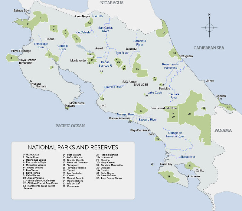 National parks in Costa Rica map